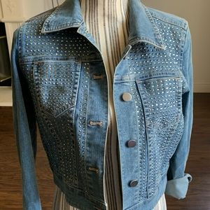 Chico's denim rhinestone jacket